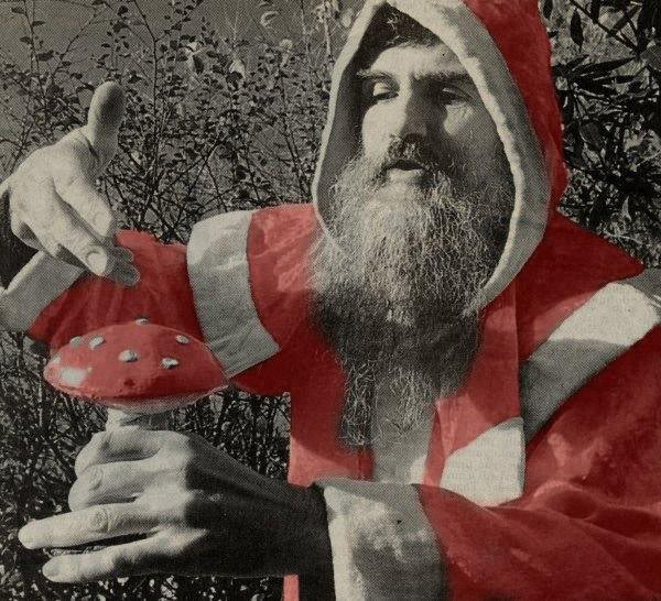 Weird Christmas – Santa Claus and the Magic Mushroom Hallucinogenic fly agaric mushroom inspired Santa's flight