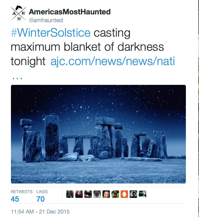 America's Most Haunted December Tweet