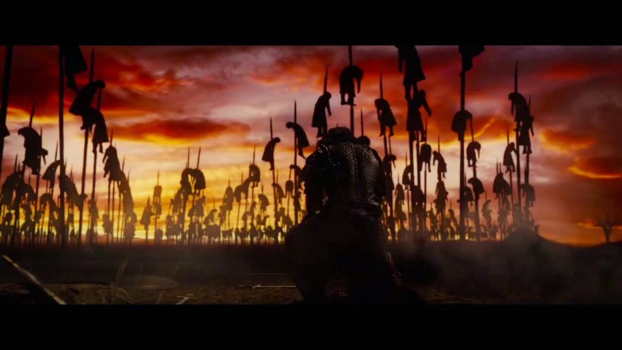 Dracula Untold impaled bodies in sunset opening image luke evans