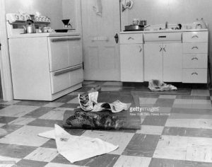 Alma's kitchen, after the removal of her corpse [Getty Images]