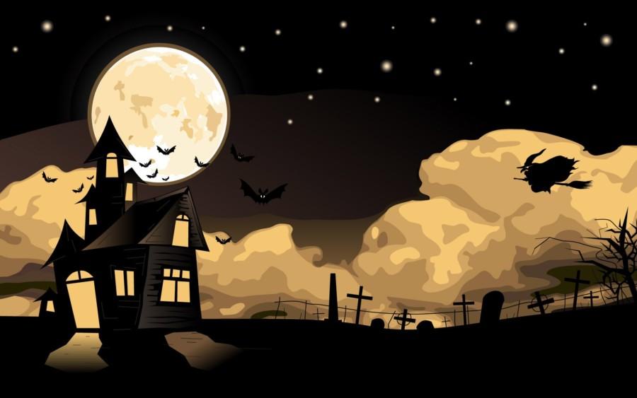 Halloween witch bats