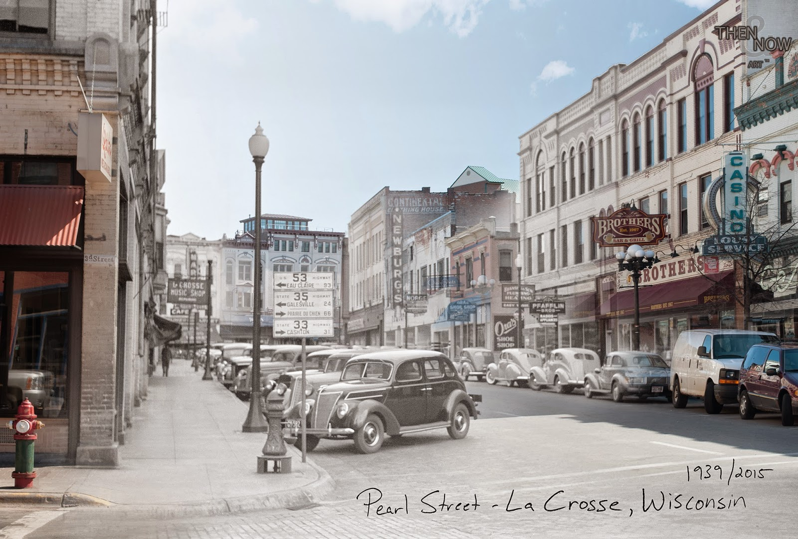 "La Crosse, WI 1930s blended with 2015 (""Then & Now"" blog)"