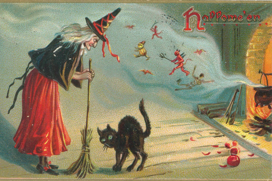 witch cat postcard