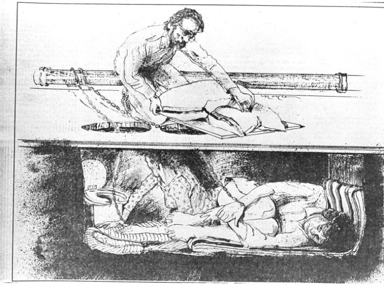 "A drawing of Gary Heidnik's ""pit"""
